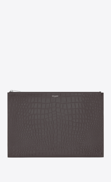 SAINT LAURENT Saint Laurent Paris SLG U classic saint laurent paris zipped document holder in dark antracite crocodile embossed leather a_V4