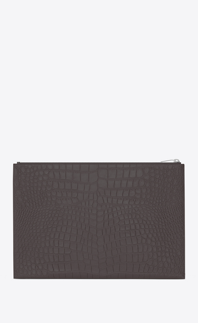 SAINT LAURENT Saint Laurent Paris SLG U classic saint laurent paris zipped document holder in dark antracite crocodile embossed leather b_V4