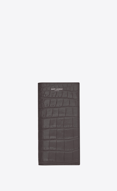 SAINT LAURENT Saint Laurent Paris SLG U classic saint laurent paris continental wallet in dark anthracite crocodile embossed leather a_V4