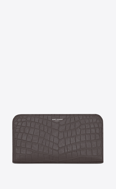 SAINT LAURENT Saint Laurent Paris SLG U classic saint laurent paris zip around wallet in drak anthracite crocodile embossed leather a_V4