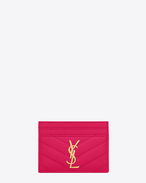 SAINT LAURENT Monogram Matelassé D monogram credit card case in lipstick fuchsia grain de poudre textured matelassé leather f