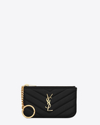 SAINT LAURENT Monogram Matelassé D monogram key pouch in black matelassé leather f