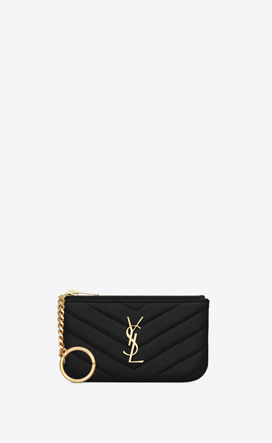 SAINT LAURENT Monogram Matelassé D monogram key pouch in black matelassé leather a_V4