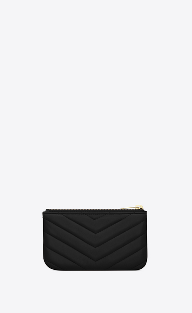 SAINT LAURENT Monogram Matelassé Woman monogram key pouch in black matelassé leather b_V4