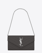 SAINT LAURENT Monogram Matelassé D small monogram saint laurent chain wallet in dark anthracite grain de poudre textured matelassé leather f