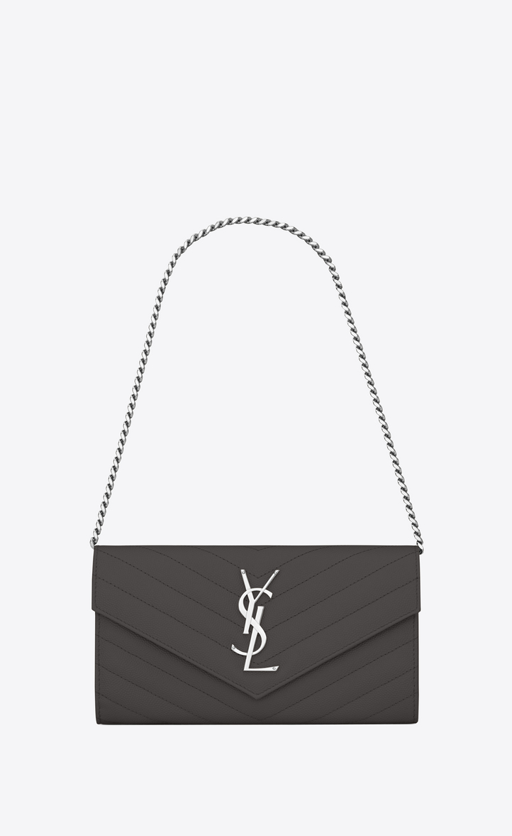small monogram saint laurent chain wallet in dark anthracite grain de  poudre textured matelassé leather 9974252b7beb9