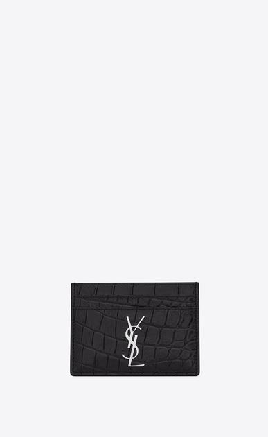 SAINT LAURENT Monogram D monogram credit card case in black crocodile embossed leather a_V4
