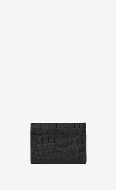 SAINT LAURENT Monogram D monogram credit card case in black crocodile embossed leather b_V4