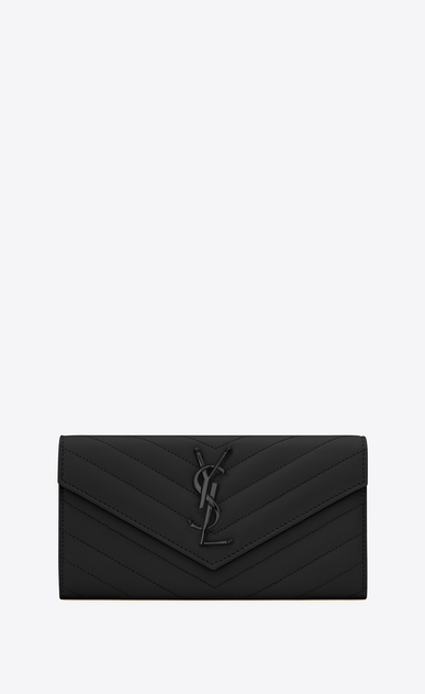 SAINT LAURENT Monogram Matelassé D large monogram flap wallet in black grain de poudre textured matelassé leather a_V4