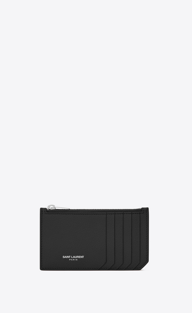SAINT LAURENT Saint Laurent Paris SLG Woman fragments zip pouch in black grained leather a_V4