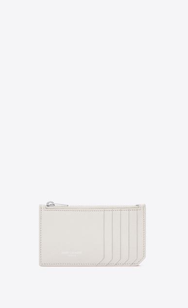 SAINT LAURENT Saint Laurent Paris SLG Woman fragments zip pouch in dove white grained leather a_V4
