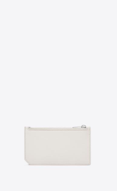 SAINT LAURENT Saint Laurent Paris SLG Woman fragments zip pouch in dove white grained leather b_V4
