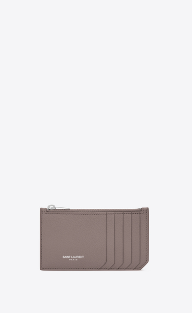 SAINT LAURENT Saint Laurent Paris SLG Woman fragments zip pouch in fog leather a_V4