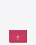 SAINT LAURENT YSL line D ysl credit card case in lipstick fuchsia leather f