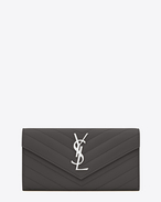 SAINT LAURENT Monogram Matelassé D large monogram flap wallet in dark anthracite grain de poudre textured matelassé leather f