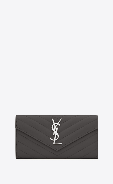 SAINT LAURENT Monogram Matelassé D large monogram flap wallet in dark anthracite grain de poudre textured matelassé leather a_V4