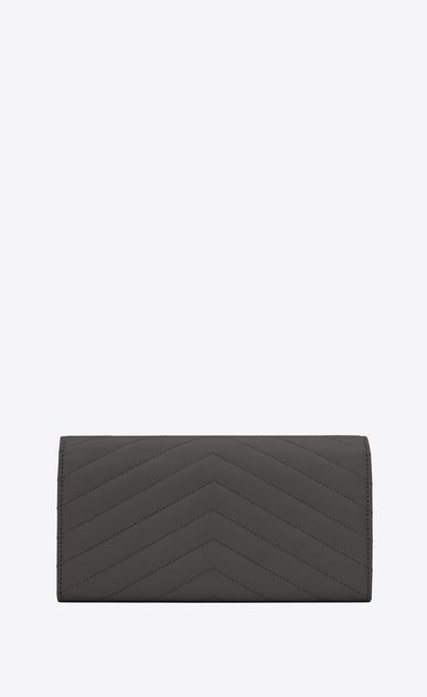 SAINT LAURENT Monogram Matelassé D large monogram flap wallet in dark anthracite grain de poudre textured matelassé leather b_V4