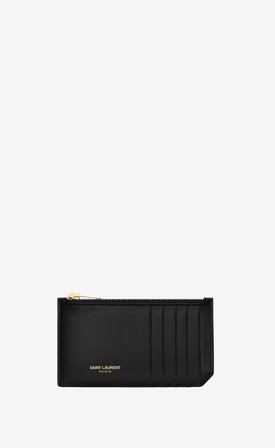 SAINT LAURENT Saint Laurent Paris SLG Woman Classic Saint Laurent Paris 5 Fragments Zip Pouch in Black Leather  a_V4