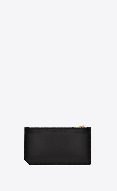 SAINT LAURENT Saint Laurent Paris SLG Woman Classic Saint Laurent Paris 5 Fragments Zip Pouch in Black Leather  b_V4