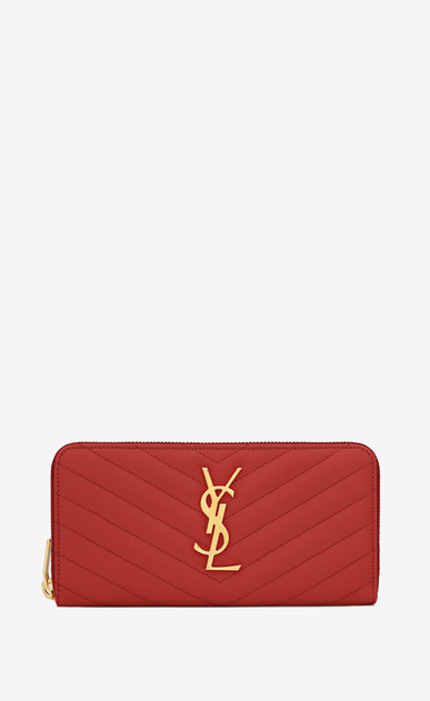 SAINT LAURENT Monogram Matelassé D monogram zip around wallet in lipstick red grain de poudre textured matelassé leather v4