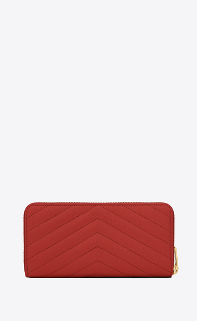 SAINT LAURENT Monogram Matelassé D monogram zip around wallet in lipstick red grain de poudre textured matelassé leather b_V4