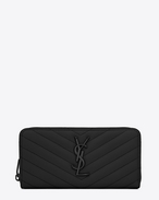 SAINT LAURENT Monogram Matelassé D monogram zip around wallet in black grain de poudre textured matelassé leather f