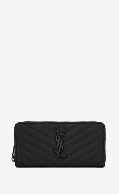 SAINT LAURENT Monogram Matelassé Woman zip around wallet in black textured matelassé leather a_V4