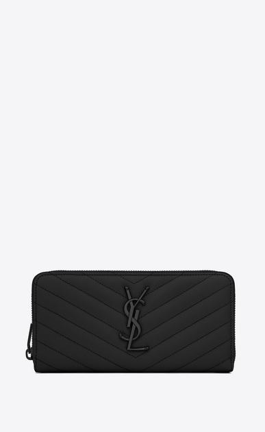 SAINT LAURENT Monogram Matelassé D monogram zip around wallet in black grain de poudre textured matelassé leather v4