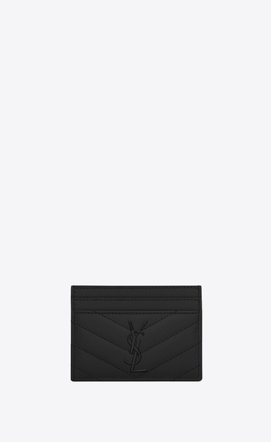 SAINT LAURENT Monogram Matelassé D monogram credit card case in black grain de poudre textured matelassé leather a_V4