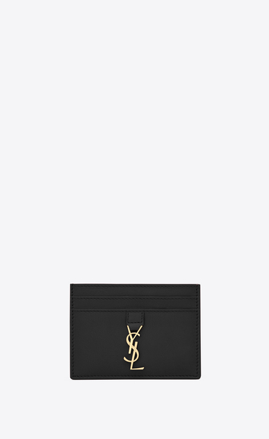 SAINT LAURENT YSL line D ysl credit card case in black leather a_V4