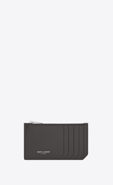 SAINT LAURENT Saint Laurent Paris SLG Man Classic Saint Laurent Paris 5 Fragments Zip Pouch in Dark Anthracite Grain de Poudre Textured Leather a_V4