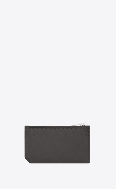 SAINT LAURENT Saint Laurent Paris SLG Man Classic Saint Laurent Paris 5 Fragments Zip Pouch in Dark Anthracite Grain de Poudre Textured Leather b_V4