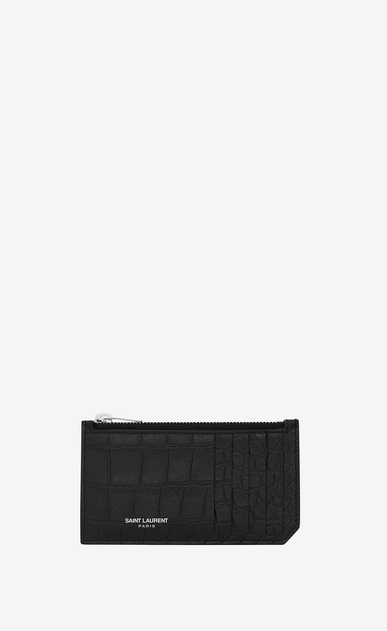 SAINT LAURENT Saint Laurent Paris SLG U classic saint laurent paris 5 fragments zip pouch in black crocodile embossed leather a_V4