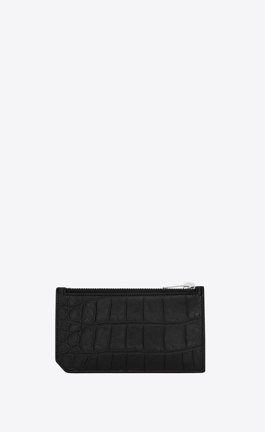 SAINT LAURENT Saint Laurent Paris SLG Man saint laurent paris 5 fragments zip pouch in black crocodile embossed leather b_V4