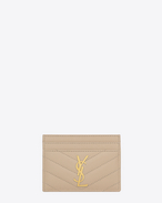 SAINT LAURENT Monogram Matelassé D monogram credit card case in pale pink grain de poudre textured matelassé leather f