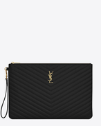 SAINT LAURENT Monogram Matelassé D Monogram document holder in black matelassé leather   f