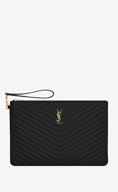 SAINT LAURENT Monogram Matelassé D Porte-documents en cuir matelassé noir a_V4