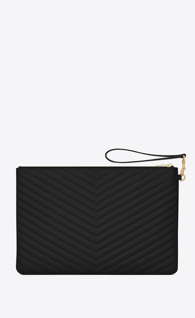 SAINT LAURENT Monogram Matelassé D Porte-documents en cuir matelassé noir b_V4
