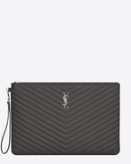 SAINT LAURENT Monogram Matelassé D Monogram document holder in dark anthracite matelassé leather f