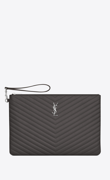 SAINT LAURENT Monogram Matelassé D Porte-documents en cuir matelassé anthracite foncé a_V4