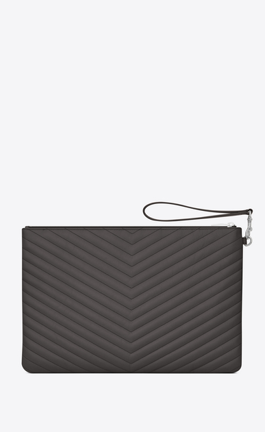 SAINT LAURENT Monogram Matelassé D Porte-documents en cuir matelassé anthracite foncé b_V4