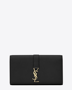 SAINT LAURENT YSL line D YSL large flap wallet in black leather  f