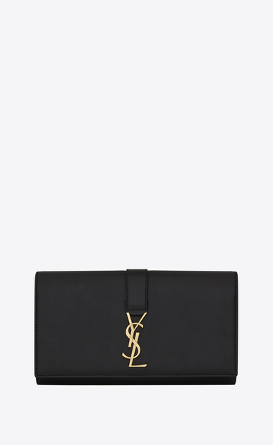 SAINT LAURENT YSL line Woman YSL large flap wallet in black leather  a_V4