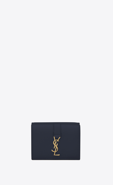 ysl petite wallet in navy blue leather