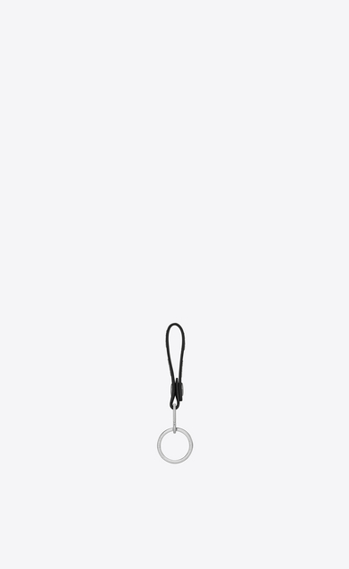 SAINT LAURENT Key Ring Man rider california key ring in black leather and silver metallic leather b_V4