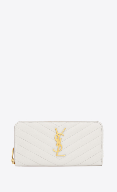 SAINT LAURENT Monogram Matelassé Woman zip around wallet in dove white textured matelassé leather V4