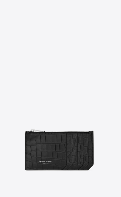 SAINT LAURENT Saint Laurent Paris SLG Man fragment zipped card case in stamped crocodile leather a_V4