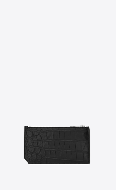 SAINT LAURENT Saint Laurent Paris SLG Man fragment zipped card case in stamped crocodile leather b_V4
