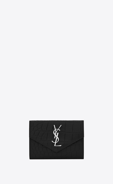 SAINT LAURENT Fragments Small Leather Goods Woman small envelope wallet in black crocodile embossed leather a_V4