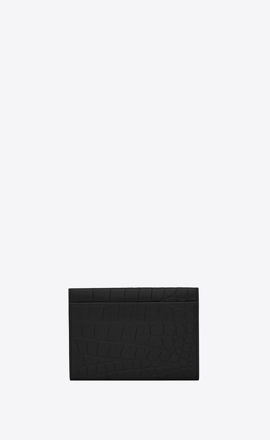 SAINT LAURENT Fragments Lederwaren Damen kleine umschlag-portemonnaie aus schwarzem geprägtem leder mit krokodilprägung b_V4